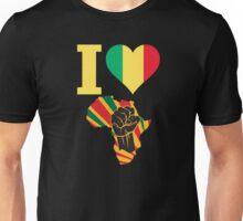 I Love Africa Map Black Power Mali Flag T-Shirt Unisex T-Shirt