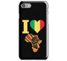 I Love Africa Map Black Power Mali Flag T-Shirt iPhone Case/Skin