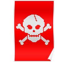 8 Bit Skull Poster