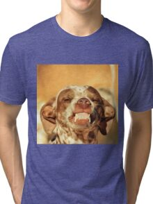 Smiling Dog - Funny Life and Honest Joy  Tri-blend T-Shirt