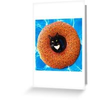 Floating Cat Donut Greeting Card