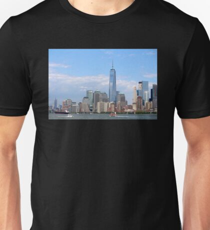 New York Harbor and City Skyline Unisex T-Shirt