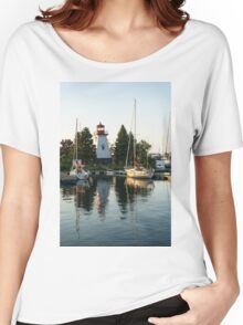 Picture Perfect - Little Lighthouse Framed by Yachts Women's Relaxed Fit T-Shirt