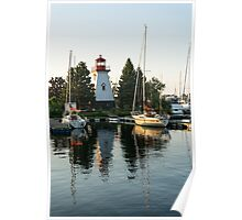 Picture Perfect - Little Lighthouse Framed by Yachts Poster