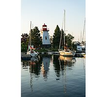 Picture Perfect - Little Lighthouse Framed by Yachts Photographic Print