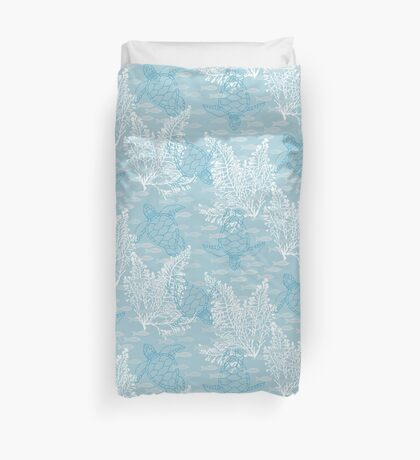 Sea Turtles and Fish in Soft Blue Hues with White Kelp Duvet Cover