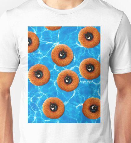 Floating Cat Donut Party Unisex T-Shirt