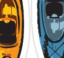 Kayak Design - with Paddle On text - blue and orange kayaks Sticker