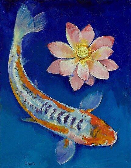 Koi Fish and Lotus by Michael Creese