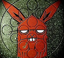 bunny monster painted on quarto game board by joose206