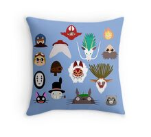 Many faces of Ghibli Throw Pillow