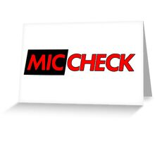 Mic Check Slogan - Black/Red Greeting Card