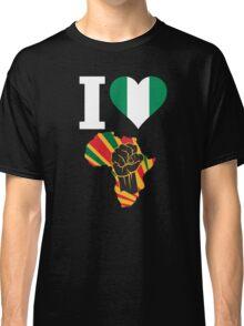 I Love Africa Map Black Power Nigeria Flag T-Shirt Classic T-Shirt