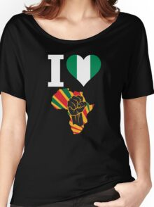 I Love Africa Map Black Power Nigeria Flag T-Shirt Women's Relaxed Fit T-Shirt