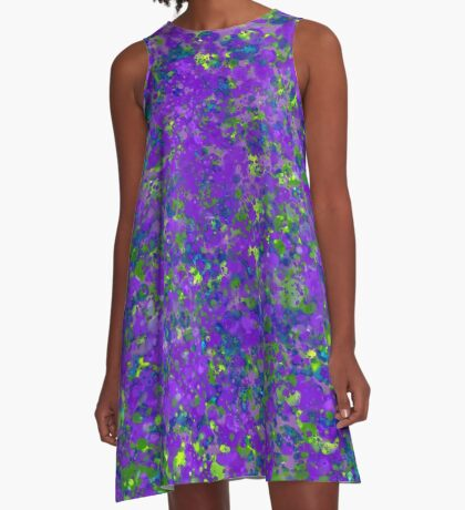 Vineyard of Grapes and Vines in Abstract Splatter Painting A-Line Dress