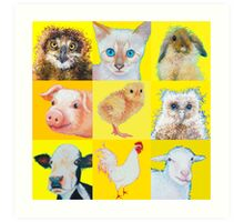 Animal Collage Art Print