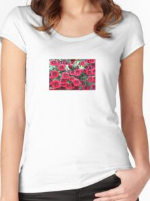 Red Flowers For You! Women's Fitted Scoop T-Shirt