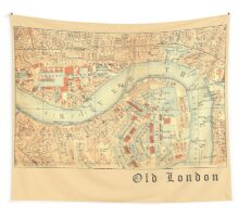 LONDON Antique Map Wall Tapestry