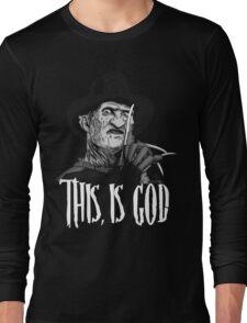 Freddy Krueger - This, is god - Black & White Long Sleeve T-Shirt