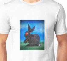 robotic death bunny painted on a used baking sheet Unisex T-Shirt