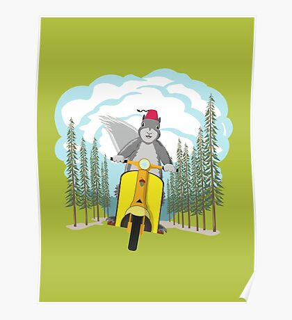 Squirrel on a Scooter Poster