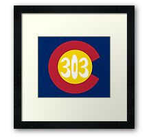 Hand Drawn Colorado Flag 303 Area Code Framed Print