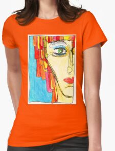 Demi-Face in Red Womens Fitted T-Shirt