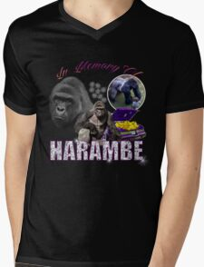 Harambe Tribute Shirt Purple Mens V-Neck T-Shirt