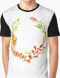 Hello autumn. Watercolor autumn leaves wreath Graphic T-Shirt