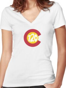Hand Drawn Colorado Flag 720 Area Code Women's Fitted V-Neck T-Shirt