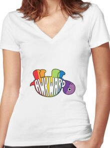 Awkward Turtle - RAINBOW Women's Fitted V-Neck T-Shirt