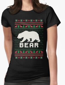 Bear Ugly Christmas Sweater Womens Fitted T-Shirt
