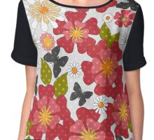 Seamless texture with red flowers style summer, retro, beach Chiffon Top
