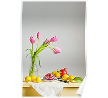 Tulips and Fruit Poster