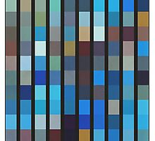 Abstraction #096 Blue blocks and black bars Photographic Print