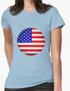 Round USA flag sign Womens Fitted T-Shirt