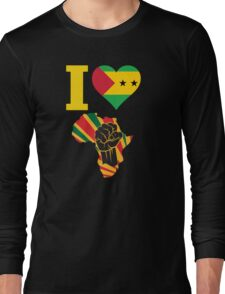I Love Africa Map Black Power Sao Tome Flag T-Shirt Long Sleeve T-Shirt