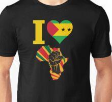 I Love Africa Map Black Power Sao Tome Flag T-Shirt Unisex T-Shirt