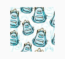 Hand drawn blue backpack seamless pattern. Unisex T-Shirt