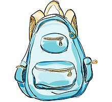 Hand drawn blue backpack. Photographic Print
