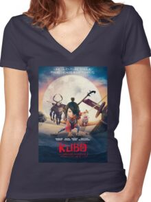 kubo and the two strings Women's Fitted V-Neck T-Shirt