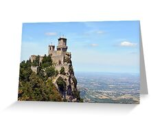 San Marino tower, landscape view. Greeting Card