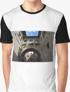 Stone buildings from Assisi with medieval arches and decorations. Graphic T-Shirt