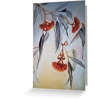 Ruby Red Gum Blossoms amongst the Black and White. Greeting Card