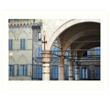 Arches and columns creating a portico in Siena. Art Print