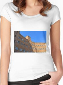 Building red brick facade from Piazza del Campo, Siena. Women's Fitted Scoop T-Shirt