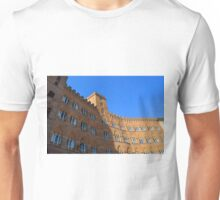 Building red brick facade from Piazza del Campo, Siena. Unisex T-Shirt