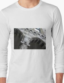 Detail of arcade from Genova with white and black marble stripes. Long Sleeve T-Shirt