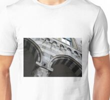 Detail of arcade from Genova with white and black marble stripes. Unisex T-Shirt