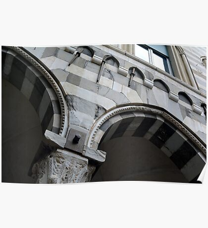Detail of arcade from Genova with white and black marble stripes. Poster